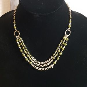 New Necklace w/Earrings Olive Green and Silver